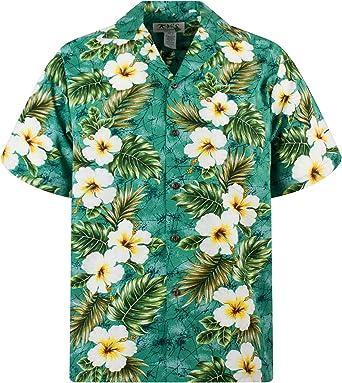 KYs | Original Camisa Hawaiana | Caballeros | S - 4XL | Manga Corta | Bolsillo Delantero | Estampado Hawaiano | Flores | Verde: Amazon.es: Ropa y accesorios