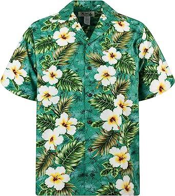 KYs   Original Camisa Hawaiana   Caballeros   S - 4XL   Manga Corta   Bolsillo Delantero   Estampado Hawaiano   Flores   Verde