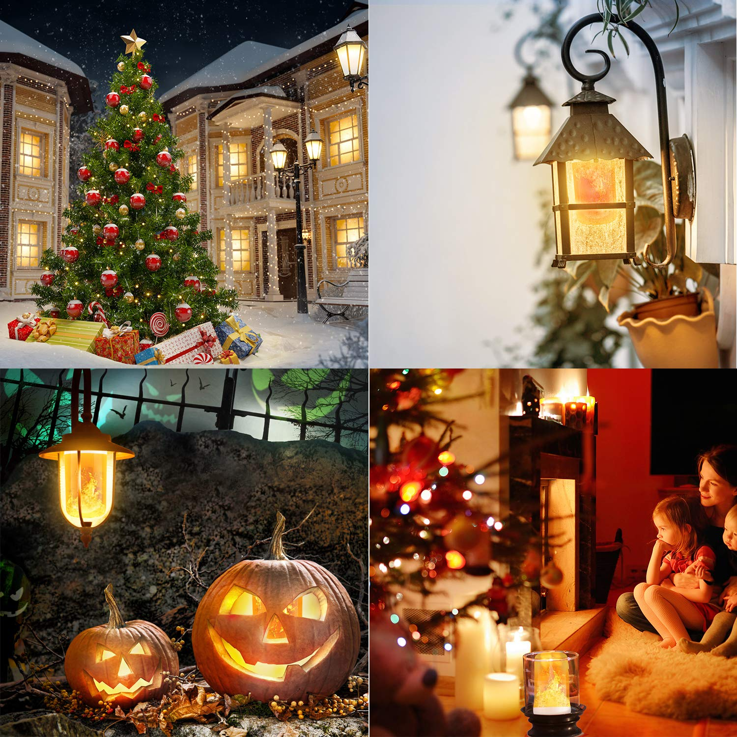 Dining Decorative Atmosphere Lamps for Halloween Flame Bulb Christmas Home Bar Party 4 Lighting Modes 4 PCS Suzzam 4W E27 Base Flame Lamp