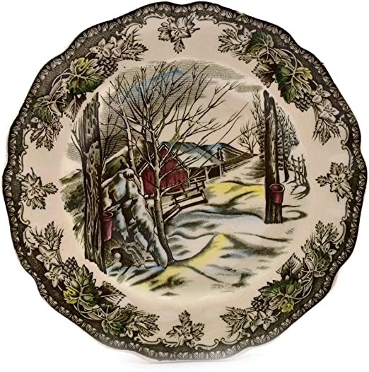 Black Logo Mark Johnson Brothers Friendly Village Sugar Maples 6.25 Bread Plate