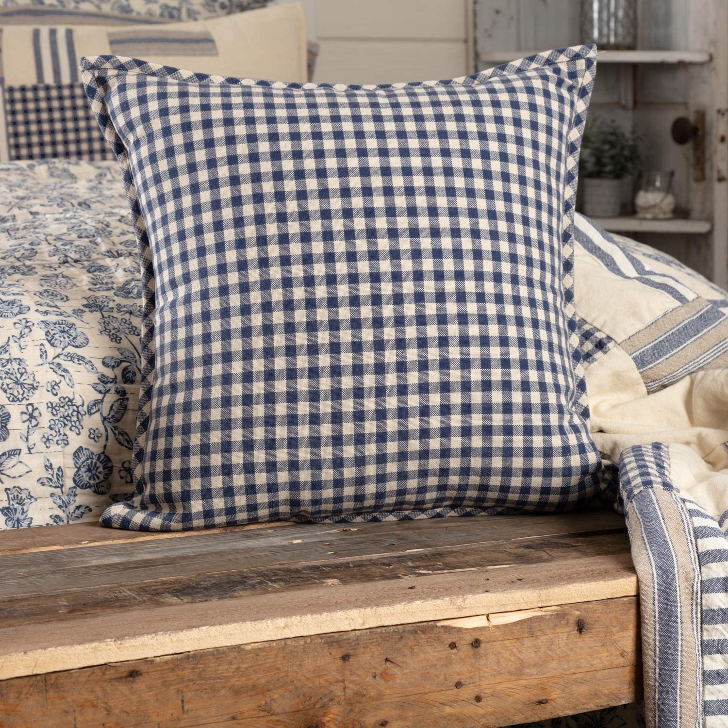 Piper Classics Doylestown Blue Check Throw Pillow Cover, 20