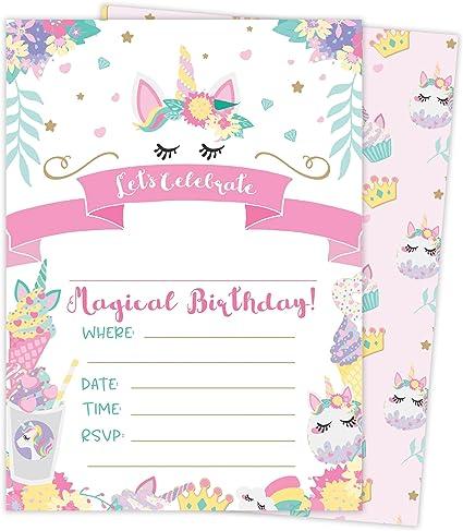 Amazon.com: Tarjetas de invitación de cumpleaños con 3 ...