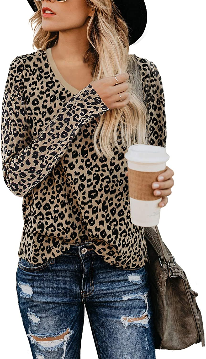 BMJL Women's Casual Leopard Print Tops Long Sleeve T Shirt Cute Blouse Graphic Tees