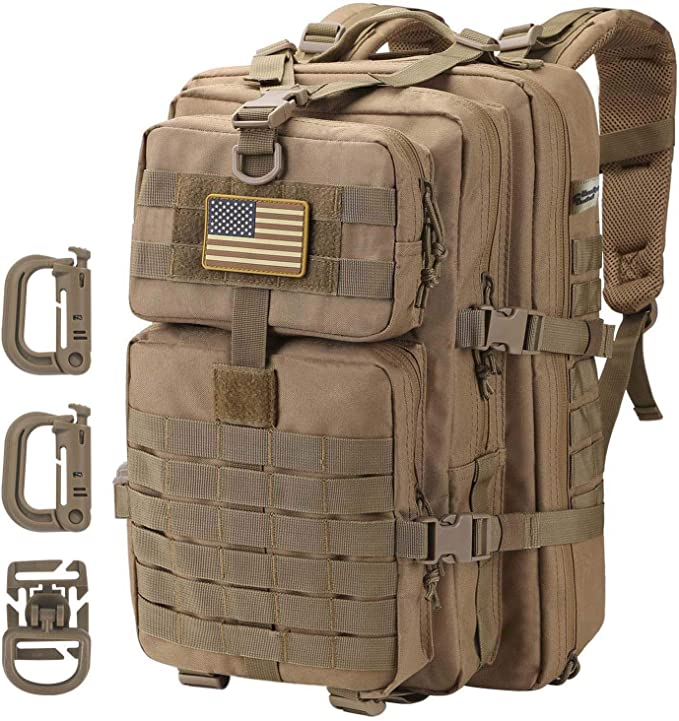 A brown tactical backpack with molle webbing straps on front with american flag patch on top