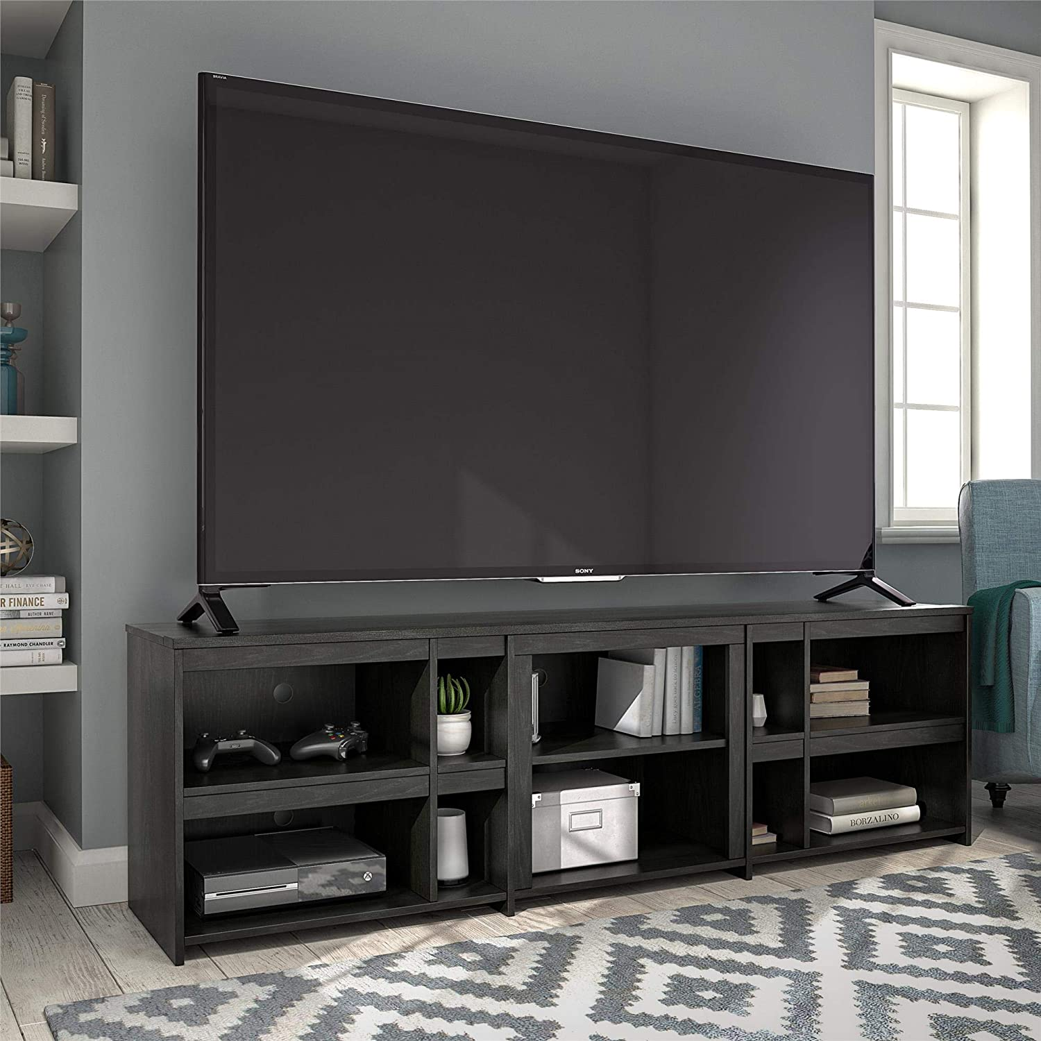 Ameriwood Home Miles Tv Stand For Tvs Up To 70 Black Oak Amazon Ca Home Kitchen