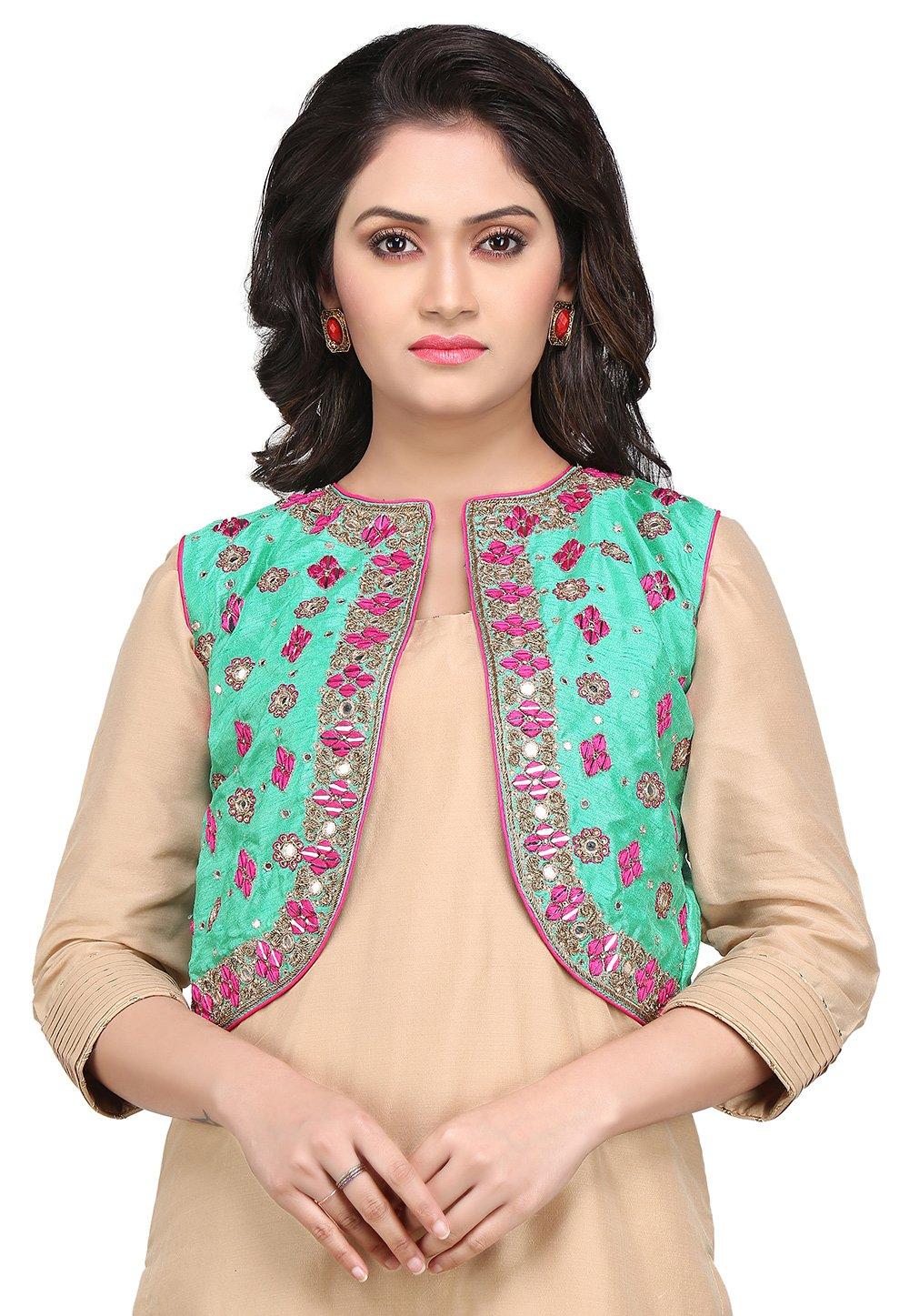 Utsav Fashion Gota Patti Embroidered Dupion Silk Jacket in Sea Green by Utsav Fashion