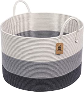 "INDRESSME XXXLarge Woven Rope Basket | Wide 21"" x 14"" Blanket Storage Basket with Long Handles Decorative Clothes Hamper Basket 