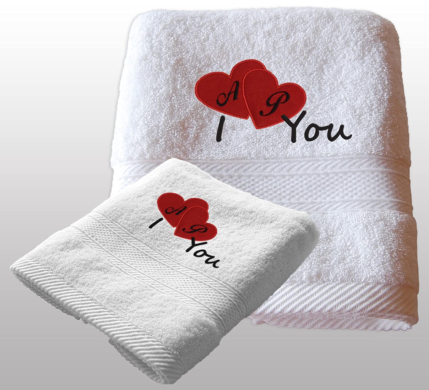 New Valentine White Monogrammed Hand Towel with Red Hearts Embroidery Design