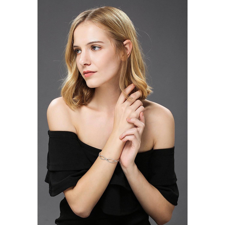 Dawanza Bracelet Jonc Femme Cristal en Plaqu/é Or Blanc Bijoux Fantaisie