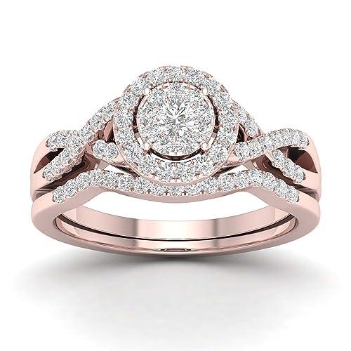 Anillo de compromiso, anillo de boda, juego de novia de oro real ...