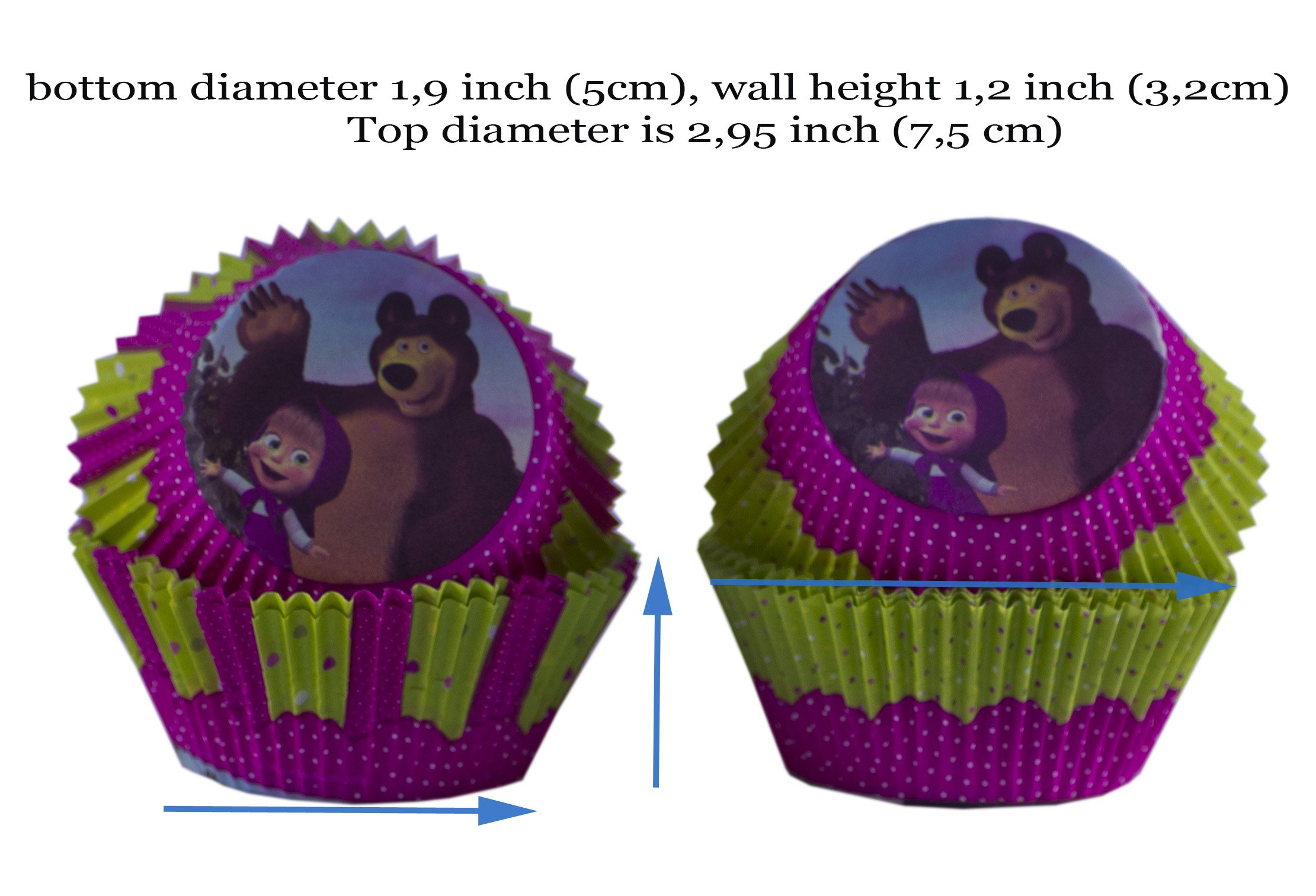 Set of Bright Printed Backing Cups 24 pcs and 24 Picks Topper Food Decoration Masha and the Bear for Cakes Cupcakes Muffins Must Have Accessories for the Party and Birthday Masha y el Oso para niños by Masha and the Bear (Image #7)