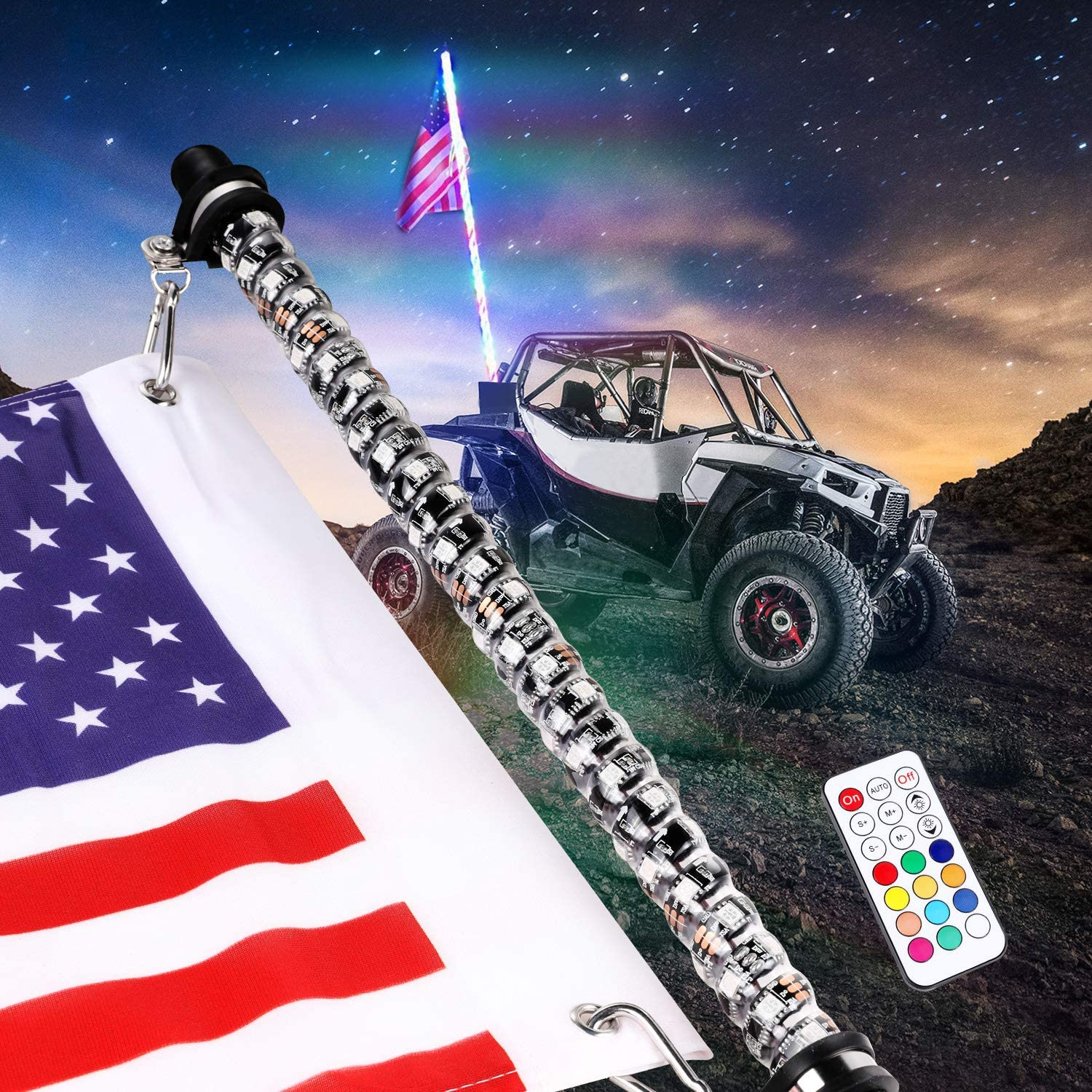 3FT Color LED Whip 360° Wrapped+Quick Release Base Remote Control for ATV//UTV US