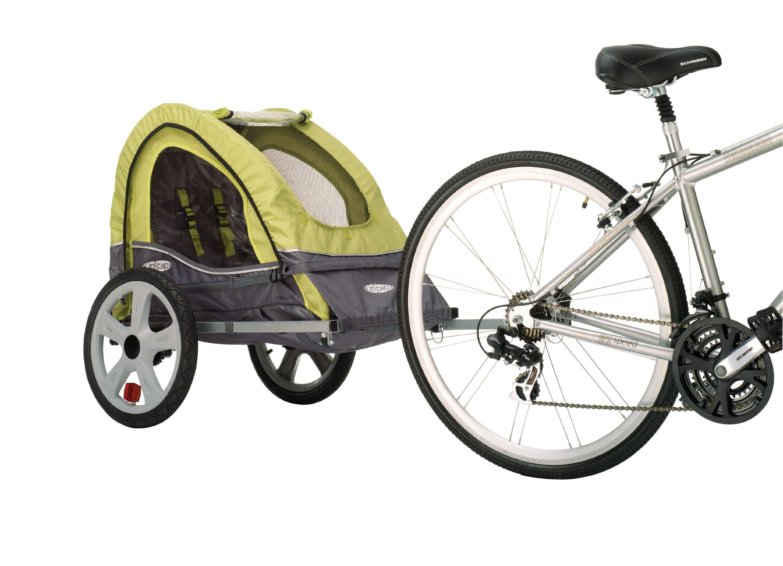 Pacific Cycle InStep Sync Single Bicycle Trailer, Green/Gray (Renewed) by Pacific Cycle (Image #2)