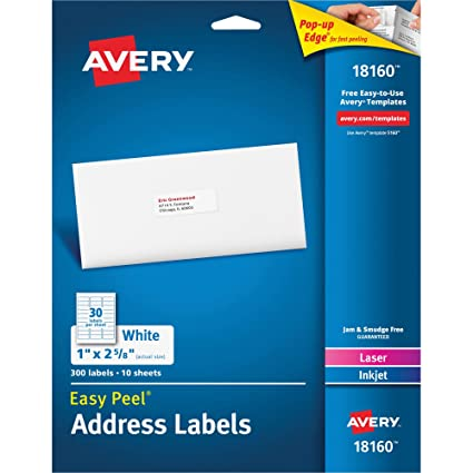avery 18160 mailing labels laserinkjet 1 x 2 58
