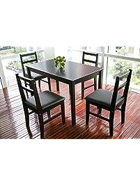 merax 5pc dinning set table with 4 chairs soild wood dark espresso finish