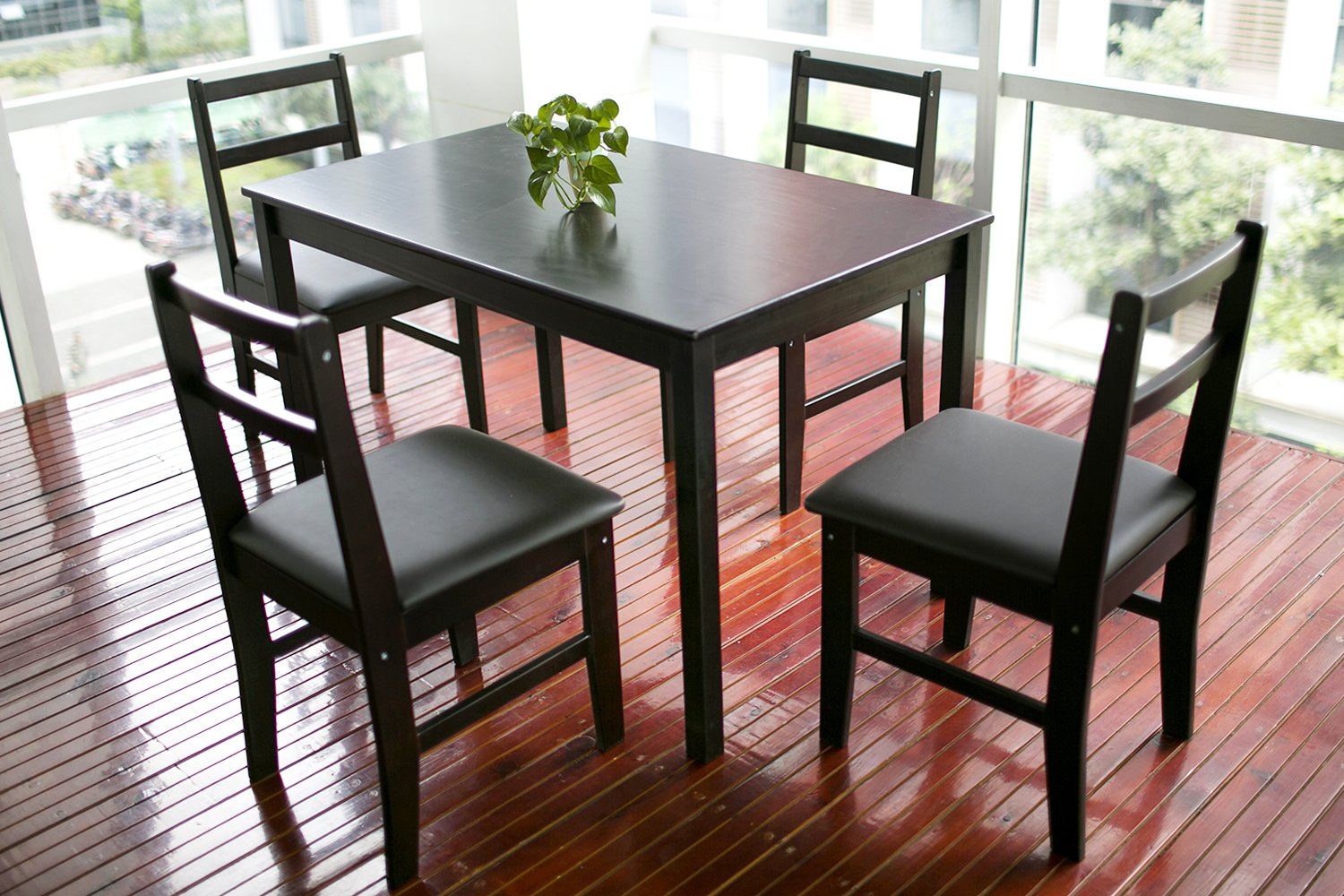 Amazon.com   Merax 5pc Dinning Set Table With 4 Chairs, Soild Wood Dark  Espresso Finish   Table U0026 Chair Sets Part 65