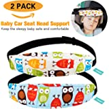 2 Packs Toddler Car Seat Neck Relief and Head Support, Pillow Support Head Band Easy Installation On Most Convertible Seats and Safety to Babies and Kids(Owls)