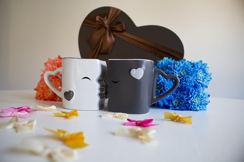 Mia /♥ Mio Grau Kaffeetassen//K/üssende Tassen Set aus Keramik
