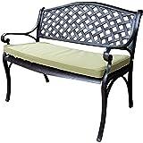 Lazy Susan Furniture - Jasmine Metal Garden Bench, Antique Bronze (Green cushion)