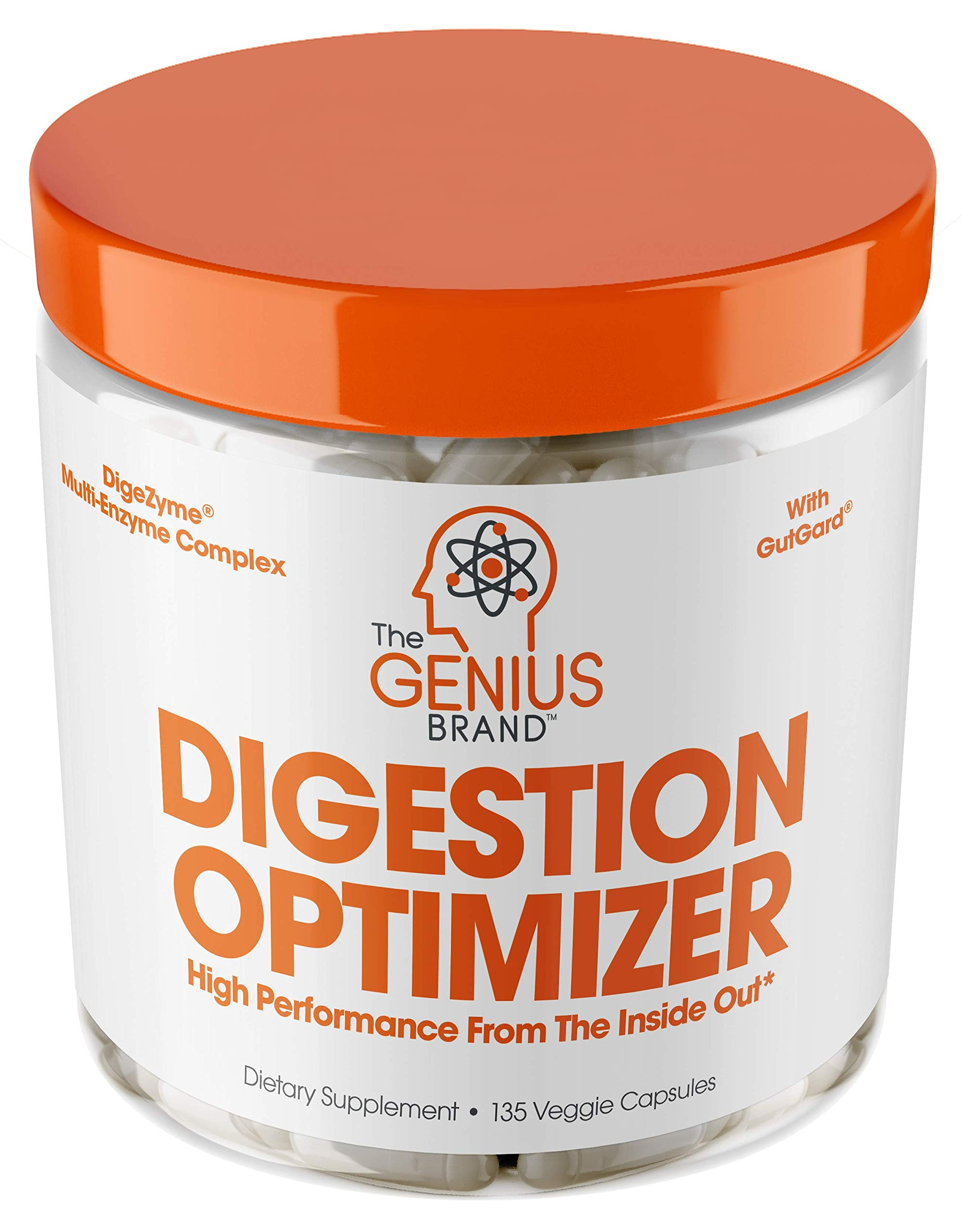 Genius Digestive Enzymes for Digestion & Total Wellness | Restore Gut Heath w/Bromelain, Ginger Root & Prebiotics - Natural Relief Formula for Gas, Heartburn, Constipation | 135 Vegetarian Capsules by The Genius Brand