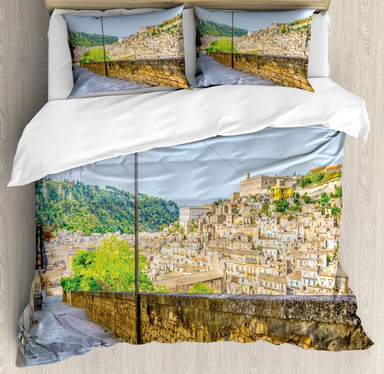 Juego de funda nórdica de Sicilia, escalera en Modica con vistas a la ciudad, arquitectura histórica histórica europea, juego de cama decorativo de 3 piezas con 2 fundas de almohada, rey multicolor: