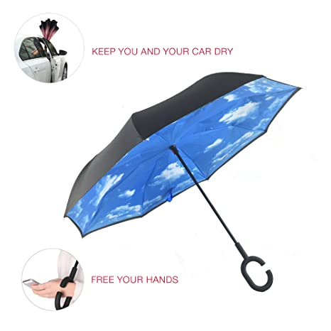 Utombrello Windproof Car Reverse Paraguas Big Stick Dual Automobile Reversible Parasol with C Shape Handle UV