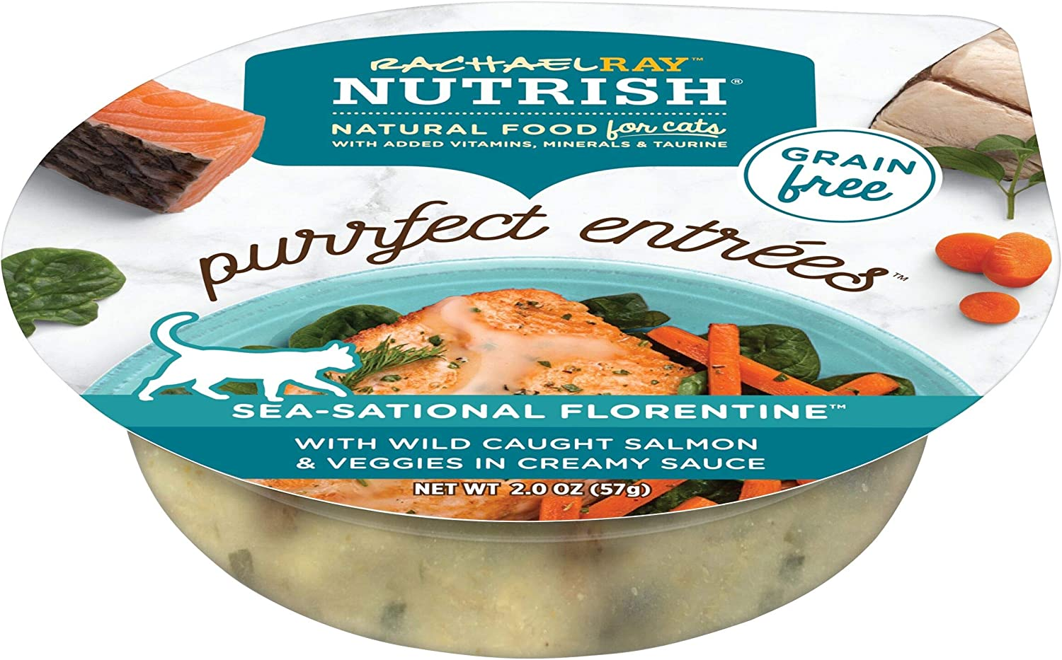 Rachael Ray Nutrish Purrfect Entrees Grain Free Natural Wet Cat Food with Wild Caught Salmon, 2.8 Oz. Tub
