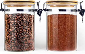 Glass food storage Containers with Lids Airtight, Glass Jars with Locking Clamp Lids, Airtight Glass Canisters Sets with lids, Glass Coffee Storage Containers with Bamboo Lid, Glass Pantry Jars, Glass Jar Bamboo lid, Glass airtight containers set of 2