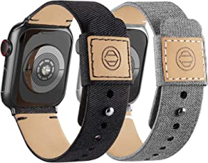 Compatible with Apple Watch Bands 38mm 40mm, Soft Cloth Fabric iWatch Bands Women Men Canvas with Genuine Leather Lining and Snap Button Straps for Apple Watch Series 6/5/4/3/2/1/SE,Black,Gray