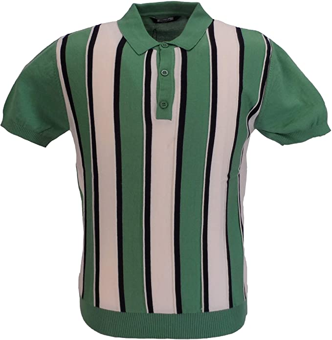 60s 70s Men's Clothing UK | Shirts, Trousers, Shoes Relco Mens Knitted Striped Polo Shirts  AT vintagedancer.com