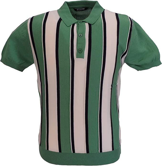 Mens Vintage Shirts – Casual, Dress, T-shirts, Polos Relco Mens Knitted Striped Polo Shirts  AT vintagedancer.com