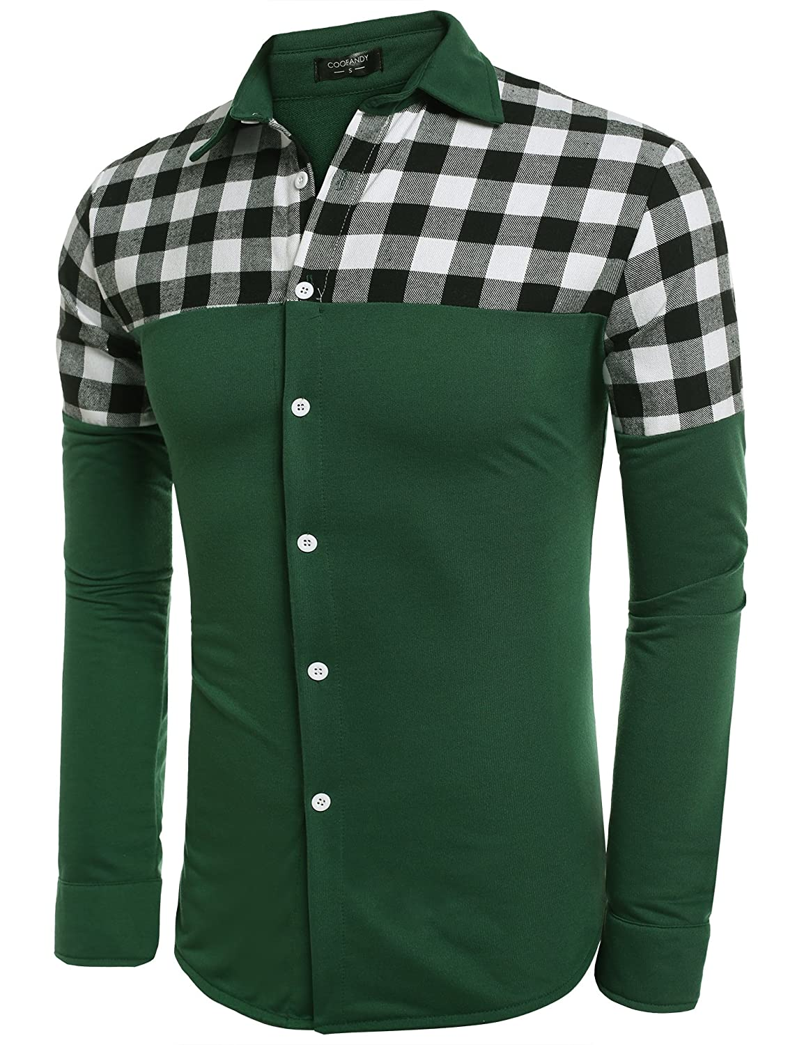 COOFANDY Men's Casual Long Sleeve Plaid Stitching Slim Fit Dress Shirts ZSJ005078