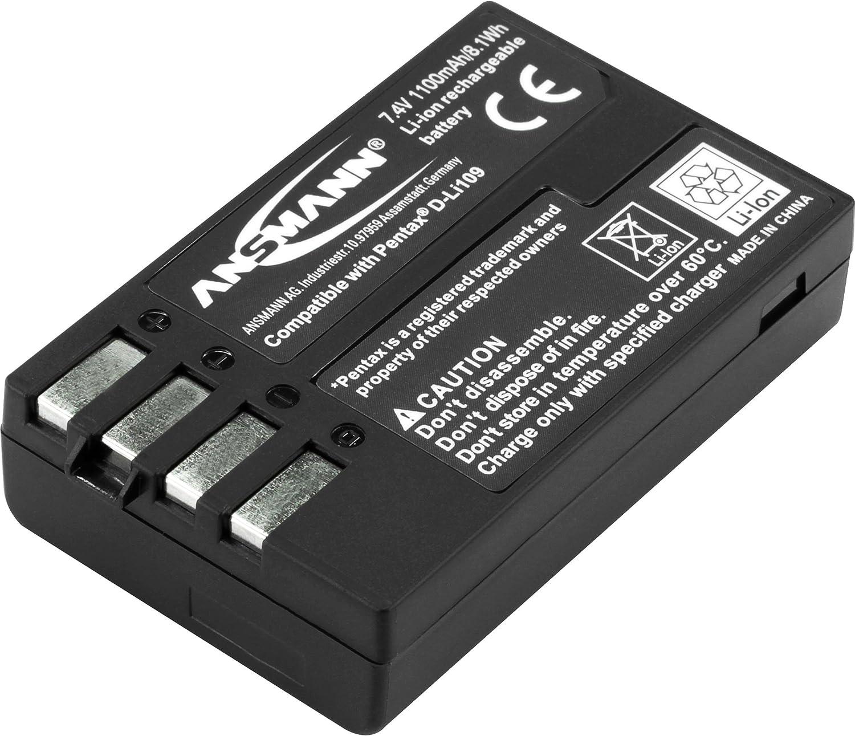 Ansmann A-Pen D-LI 109 - Batería/Pila Recargable (1100 mAh, Cámara Digital, Iones de Litio, Ampolla) Negro