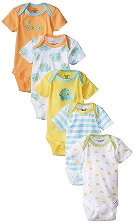 Gerber Unisex-Baby Variety Onesies Brand Bodysuits, Elephant, Newborn (Pack of 5)