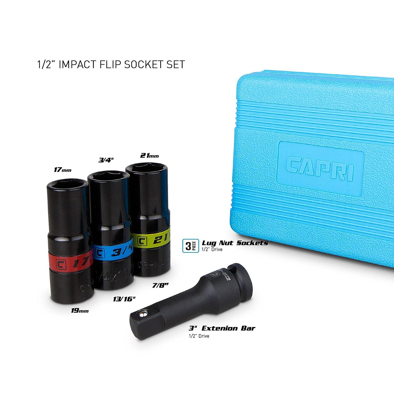 1//4-Inch Drive 6-Point Metric /& SAE Sizes Capri Tools Universal Socket