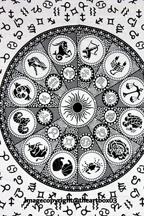 "30X40 /"" Zodiac Astrology Art Wall Décor Indian Mandala Cotton Table Case Poster"