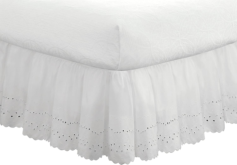 Grey Queen Fresh Ideas Ruffled Eyelet Bedskirt