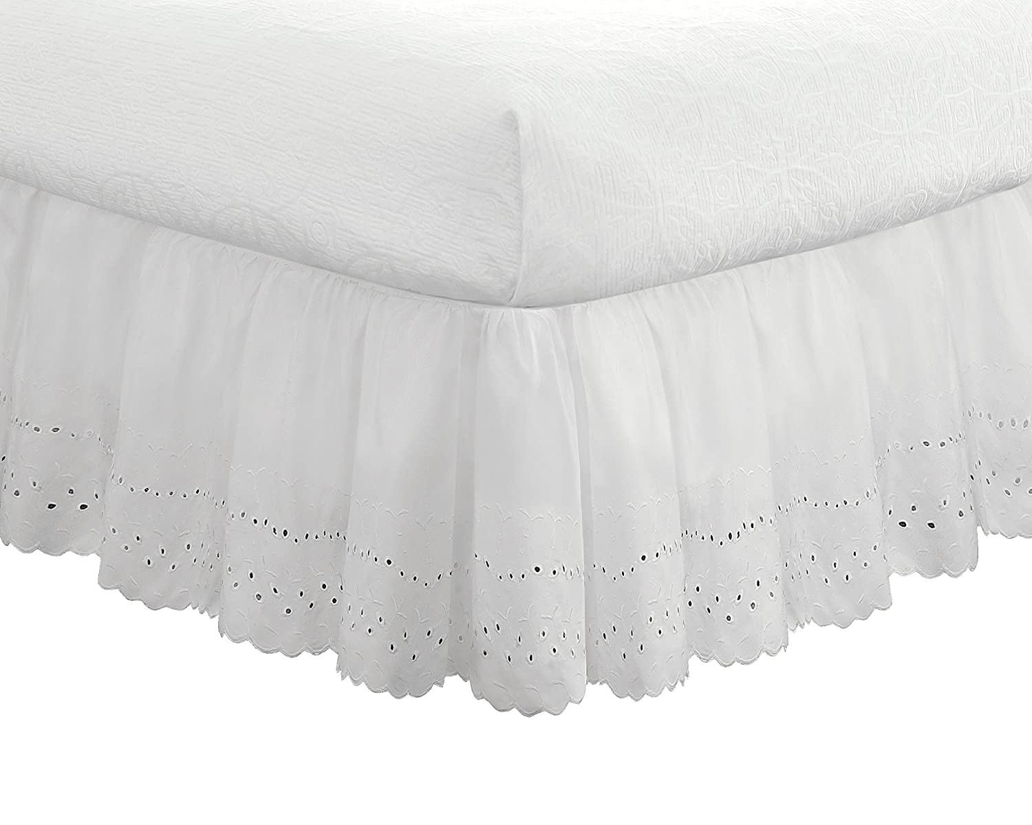 "Eyelet Ruffled Bedskirt – Ruffled Bedding with Gathered Styling – 18"" Drop, Full, White"