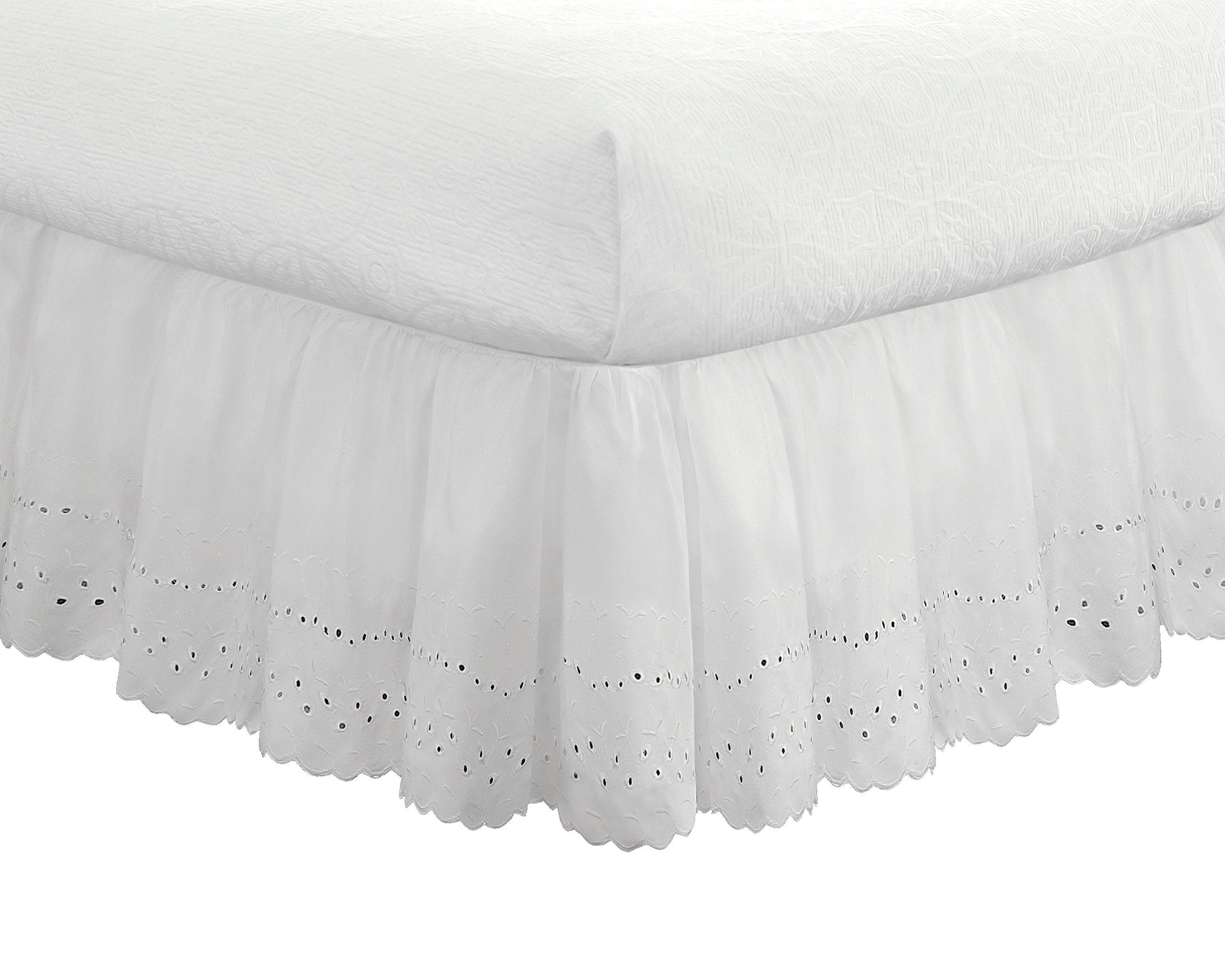Eyelet Ruffled Bedskirt - Ruffled Bedding with Gathered Styling -14'' Drop, King, White