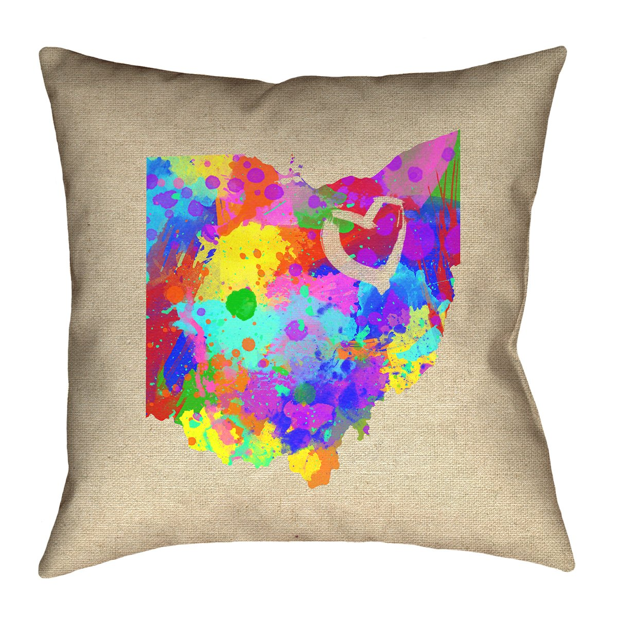 ArtVerse Katelyn Smith 16 x 16 Spun Polyester Ohio Love Watercolor Pillow