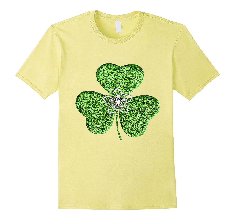 Faux Green Glitter Shamrock With A Flower Shirt-CL