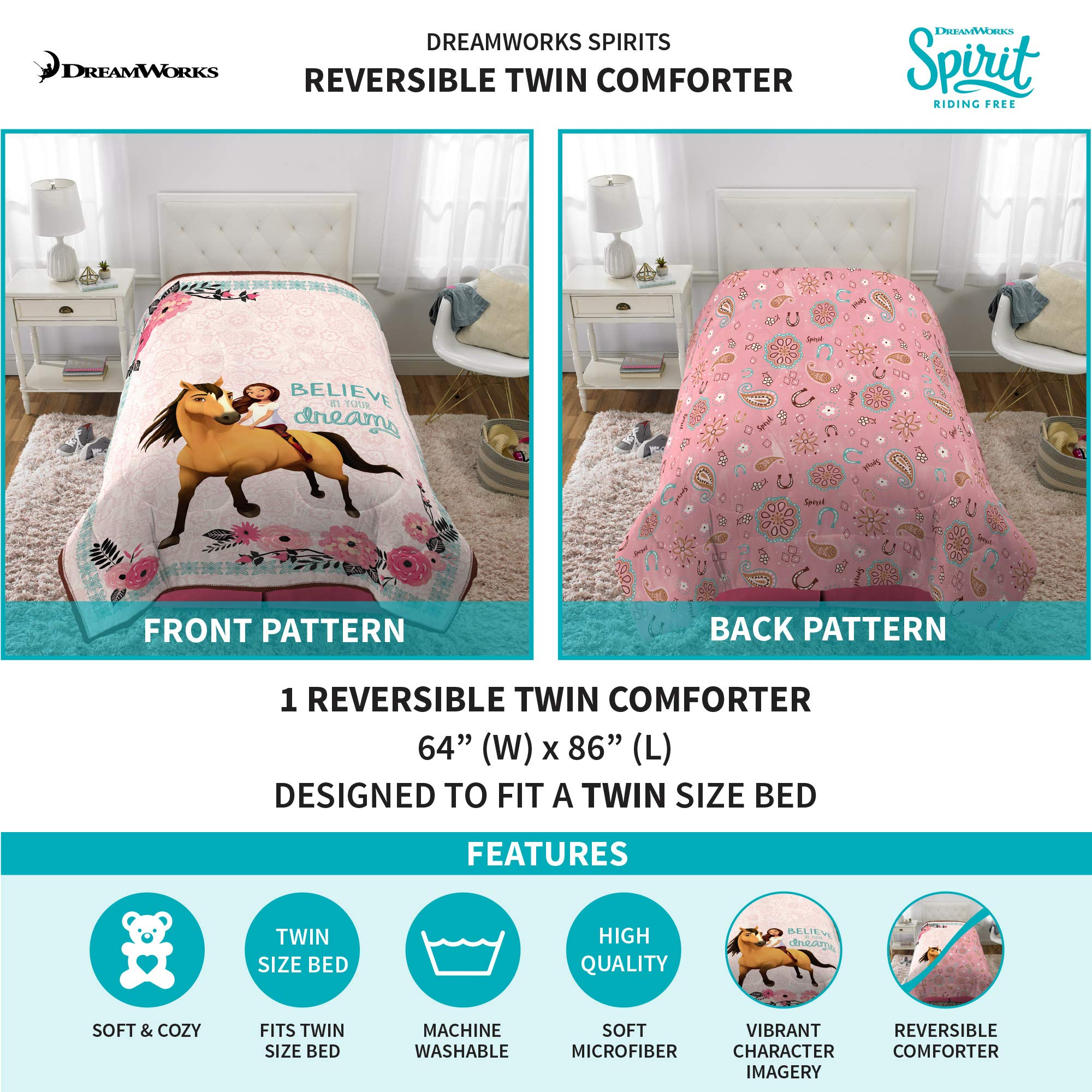 Dreamworks Spirit Riding Free Kids Bedding Soft Microfiber Reversible Comforter, Twin Size 64'' x 86'', White/Pink by Dreamworks (Image #2)