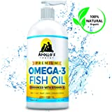 Apollo's Pets Premium Omega 3 Fish Oil with Natural Vitamin E Treats Shedding, Itchy Skin, Pain, Allergies, Joints for Dogs and Cats. More EPA/DHA than Salmon Oil. Made in USA. 16oz Liquid Pump