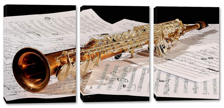 Soprano サクソフォン 音楽 ウォールアート キャンバスプリント 3パネルスプリット トリプティック ホームデコ 壁装飾 90x45 0540 90x45  B07NRM1HP2