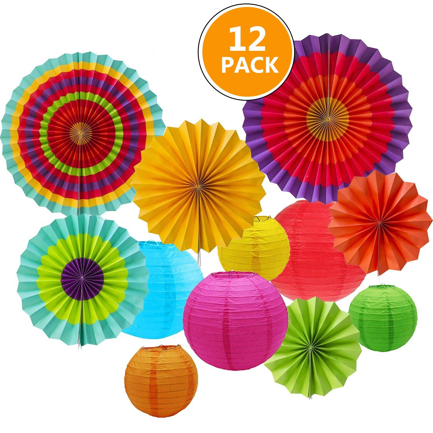12pcs Hanging Fiesta Paper Fan Lanterns Decoration, Mexican Fiesta/Carnival/Kids Party/Birthday/Christmas Decor,Party/Events Decor, Home Decor Supplies Flavor Sonnis