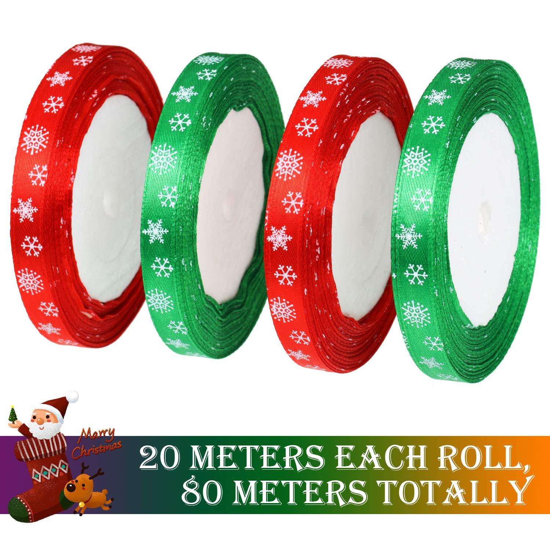 10 mm de Ancho 80 Metros de Cinta de Sat/én de Navidad Cinta de Envolver Regalo Cinta Roja y Verde con Patr/ón de Copo de Nieve para Manualidades