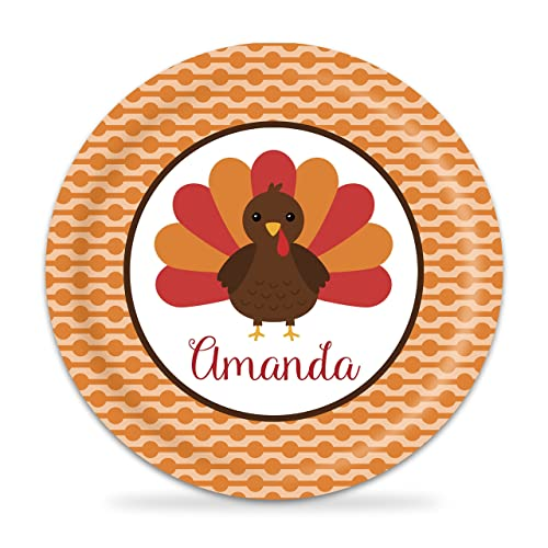Thanksgiving Plate   Red Turkey Kids Melamine Personalized Plate