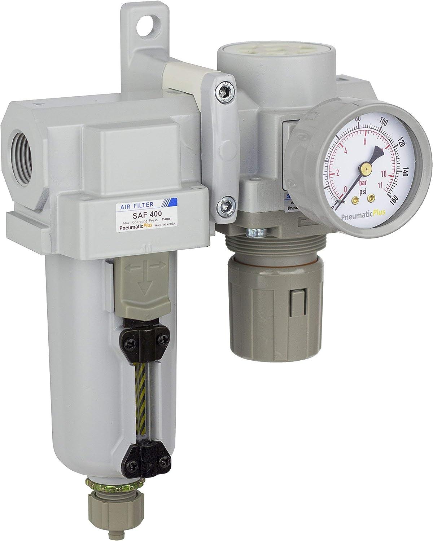 Gauge PneumaticPlus SAU420-N04G-MEP Compressed Air Filter Regulator Combo 1//2 NPT Manual Drain Bracket Metal Bowl