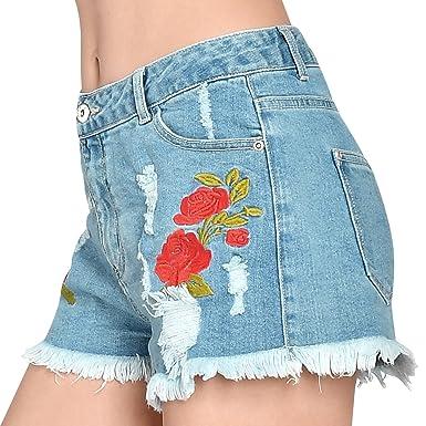 fda1cffa4fe ililily Women Vintage Distressed Rose Embroidery Jean Pants Frayed Denim  Shorts, Light Blue, US