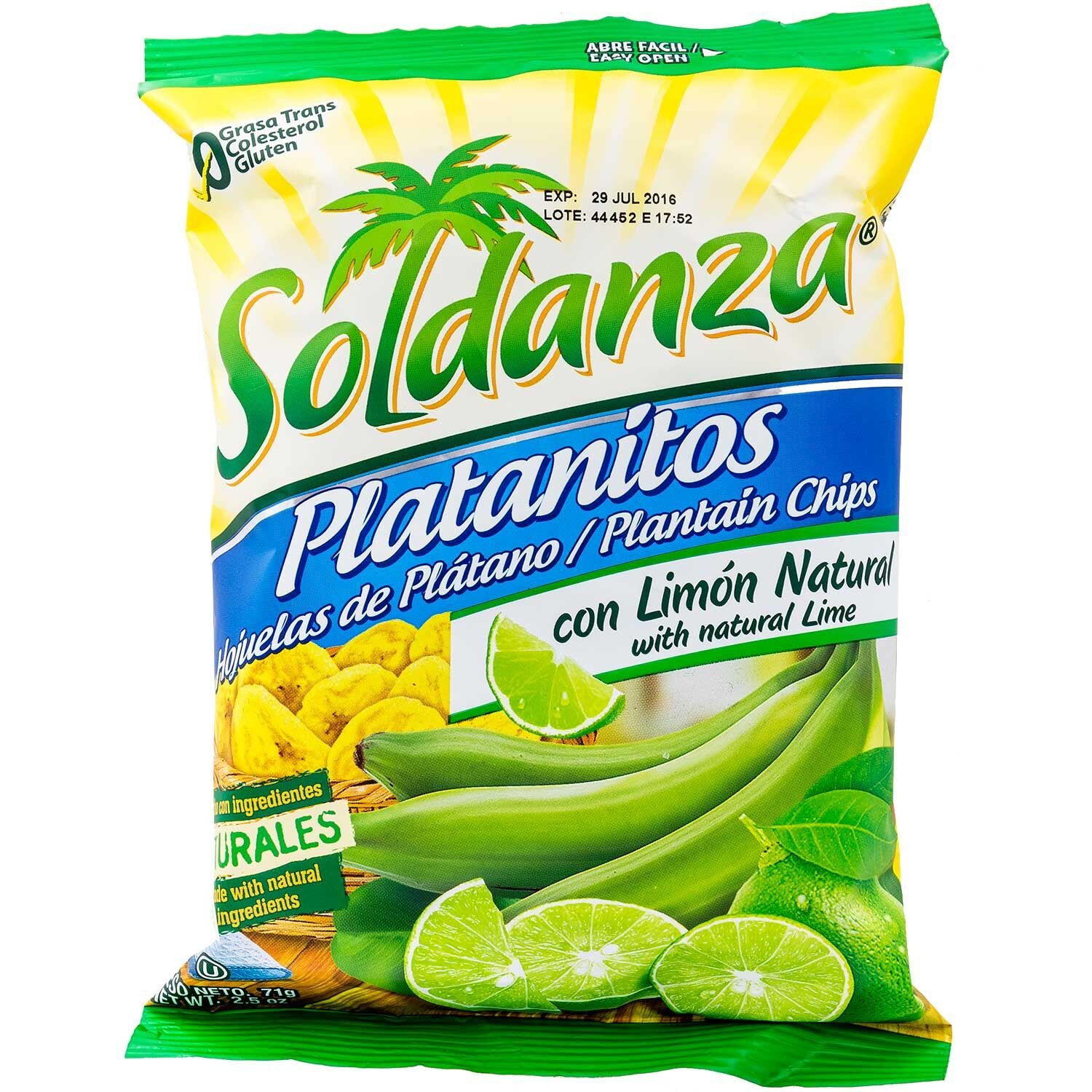 Soldanza Plantain Chips with Natural Lime 2.5 oz (Pack of 24)